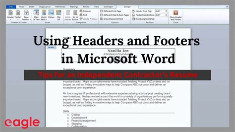 Sle Resume With Header And Footer ms word tip using headers and footers in your resume