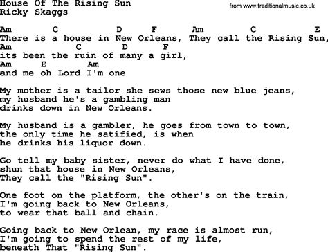 house of the rising sun chords and lyrics house of the rising sun bluegrass lyrics with chords