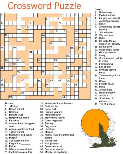 printable puzzles of animals printable animal crossword puzzles word search and