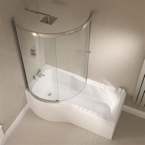 Shower And Bathroom April Prestige 984 X 1500mm P Shaped Sliding Bath Screen Ap9502ls