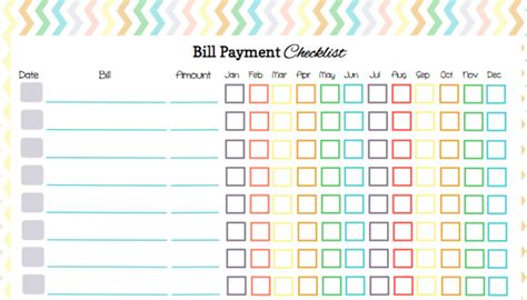 5 Best Images Of Free Printable Pay Chart Printable Bill Payment Log Free Printable Monthly Free Bill Payment Checklist Template