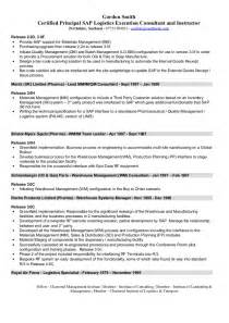 Logistics Consultant Sle Resume by Sap Logistics Execution Consultant Cv