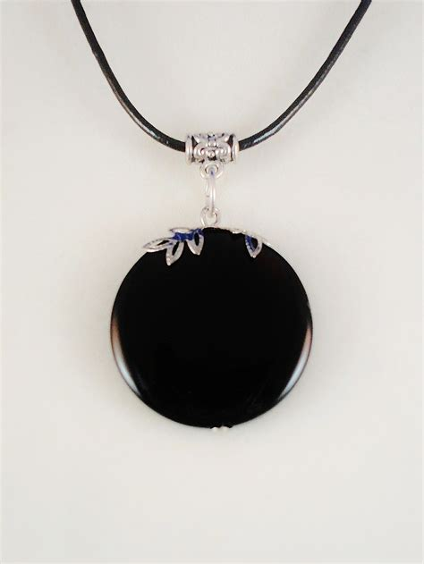 absolute black genuine circle pendant leather cord