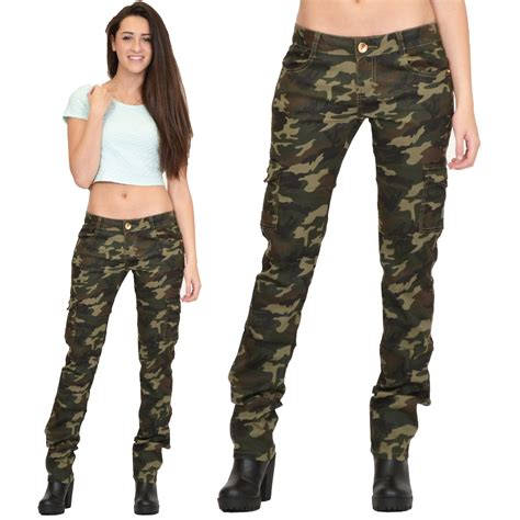 camouflage pattern jeans womens army military green camouflage slim fit combat