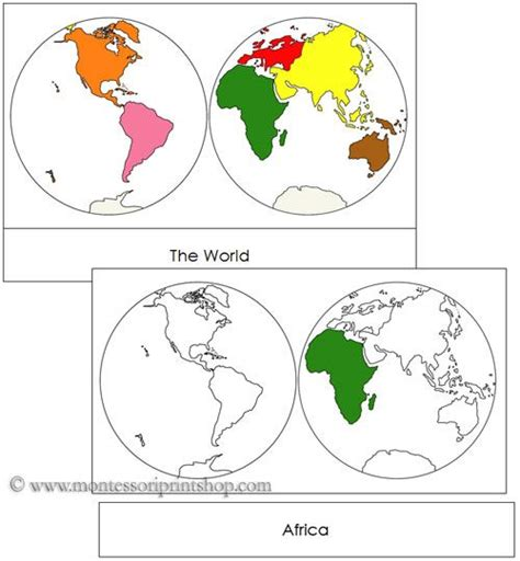 printable montessori work continents by hemisphere each continent is shown in