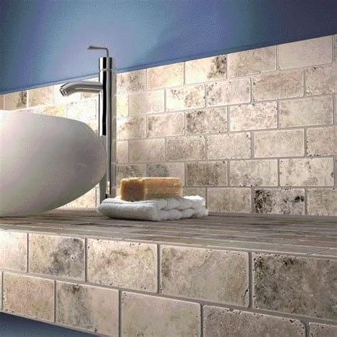 Travertine Countertops Bathroom by Large Image Of Silver Travertine Tumbled Mosaic Tile