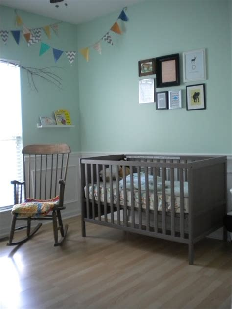 Grey Brown Crib by Baby Nursery Mint Green Walls Grey Brown Furniture