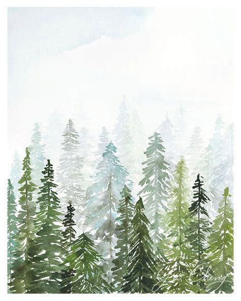 winter woods watercolor clip pine trees snow log cabin watercolor background evergreen watercolor print artsy fartsy aquarell malerei kunst