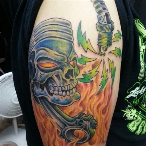 skull and piston tattoos skull piston flaming best ideas gallery