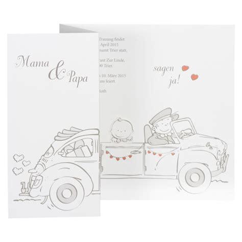 Hochzeitseinladung Auto by Hochzeitseinladung Quot Quot In Wei 223 Mit Herzen Weddix De