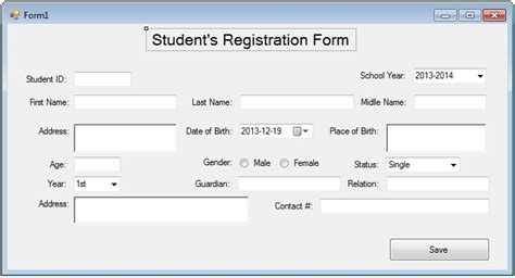 design form on visual basic student s registration form with autoincrement autonumber