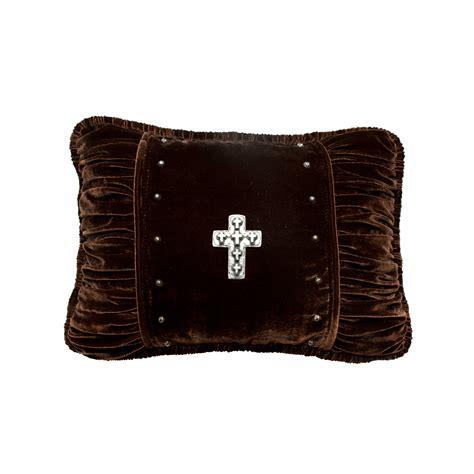 Brown Velvet Pillows by Brown Velvet With Cross Accent Pillow