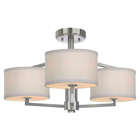 semi flush ceiling light with drum shades 1885 09