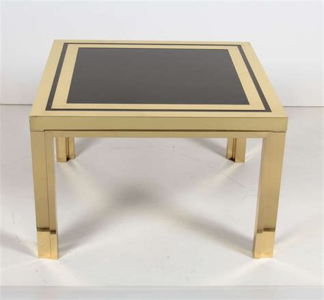 Black Glass Coffee Tables Sale Midcentury Brass And Black Glass Coffee Or End Tables For Sale At 1stdibs