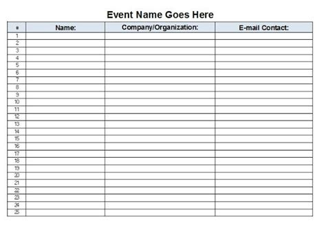 sign in sheet template excel the admin free event sign in sheet