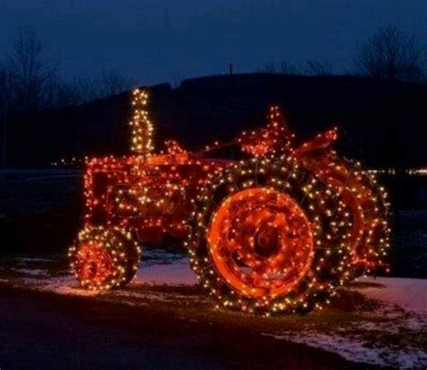 tractor with lights christmas is pinterest