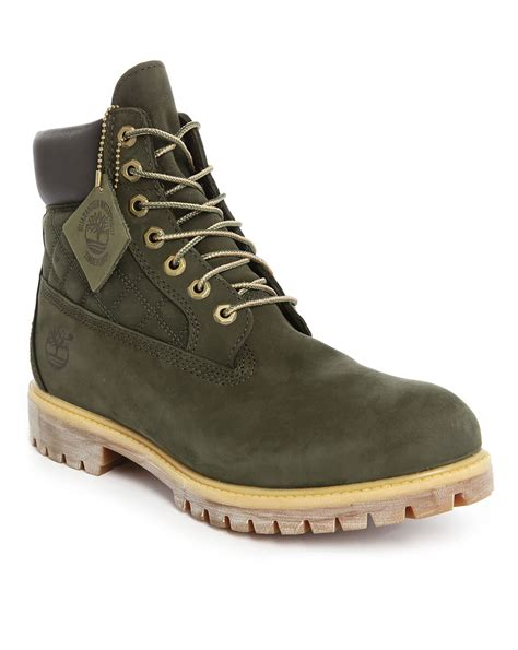 green timberland boots timberland 6 inch water resistant suede boots in green for