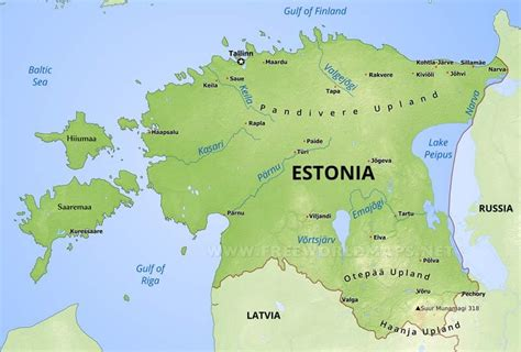where is estonia on a map estonia physical map