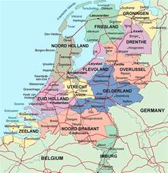 detailed administrative map of netherlands with major