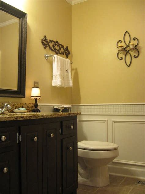 yellow and brown bathroom guest bathroom reveal vintage inspired hometalk