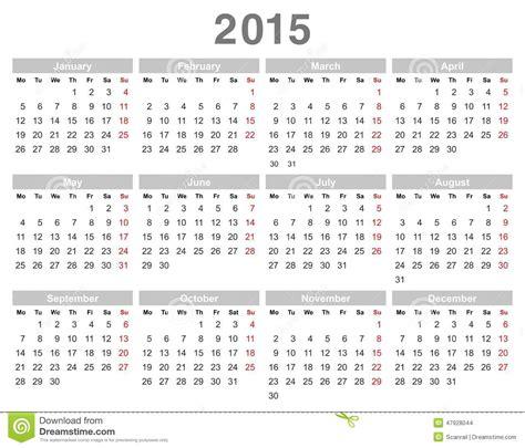Dominica Calendrier 2018 Calendrier Annuel De 2015 Ans Lundi D Abord Anglais