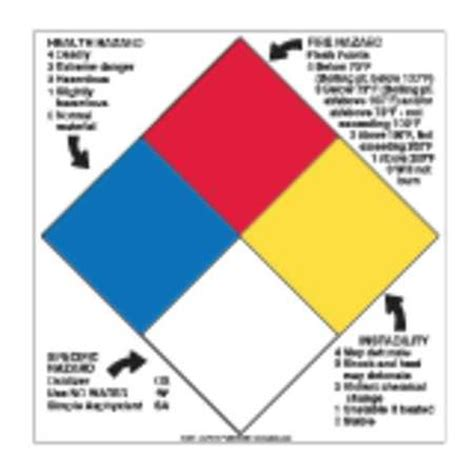 blue section of the nfpa 704 diamond labelmaster nfpa diamond sign 15inx15in vinyl h l96r