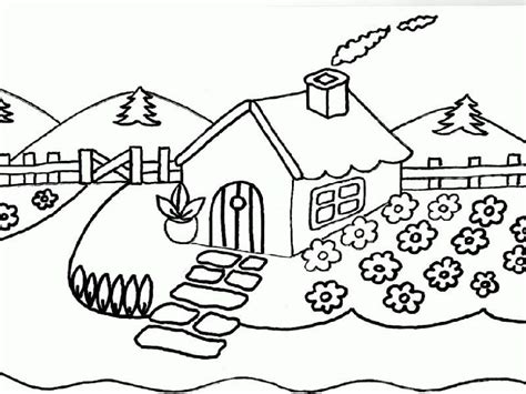 imagenes de paisajes faciles para colorear para colorear paisajes para dibujar lapiz dibujos rboles