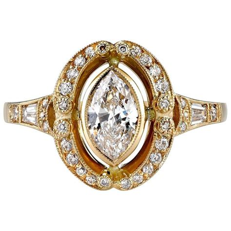 marquise cut yellow gold engagement ring for sale