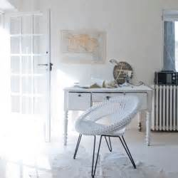 all white home office with vintage furniture how to