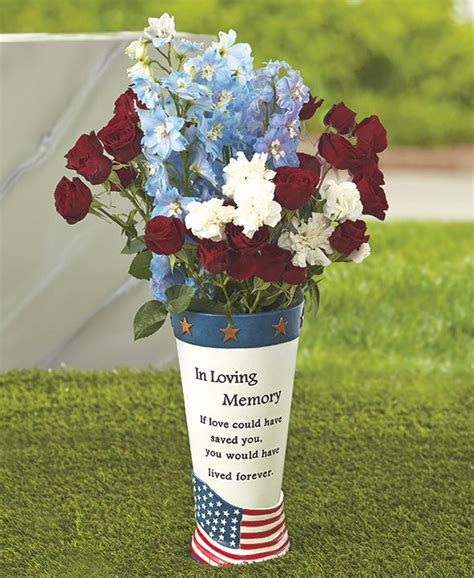 Grave Vases For Flowers by Memorial Vase Flowers Flag Cemetery Headstone Grave Marker