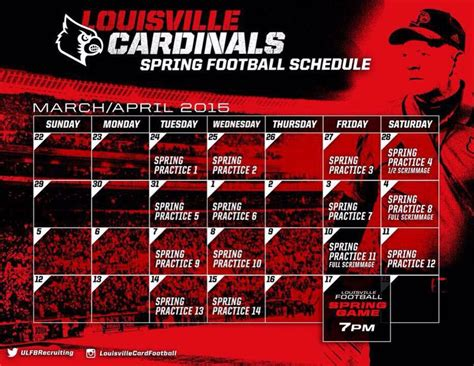 Mba Baseball Schedule by Louisville Football 2015 Schedule The Crunch Zone