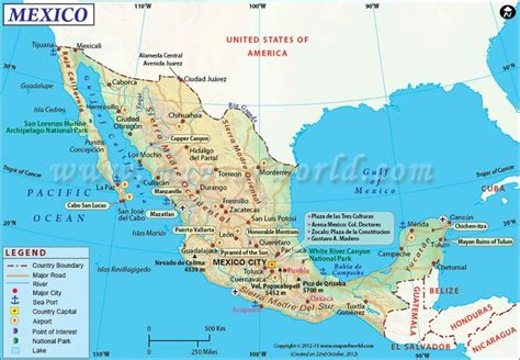 map of the country of mexico mexico map showing the major cities airports roads