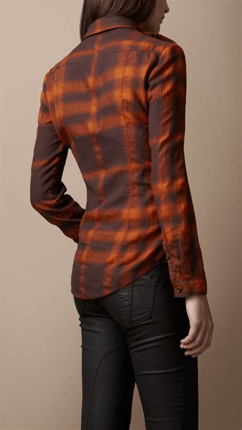 Blouse Meli Trompy Bdg Bt020210 burberry brit fitted ombre check shirt in brown lyst