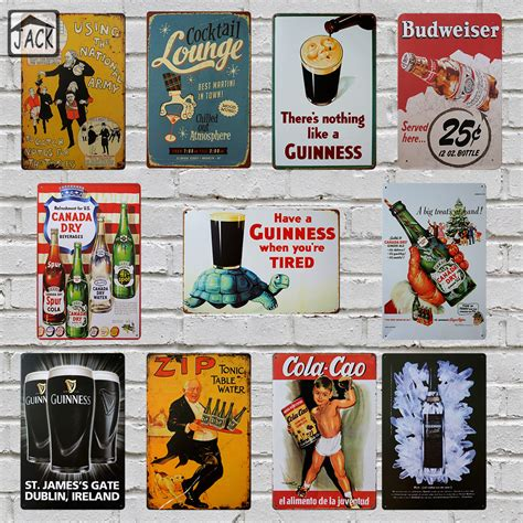 wine beer vintage home decor tin sign 8 quot x12 quot metal signs guinness beer wine cocktail advertising metal tin signs