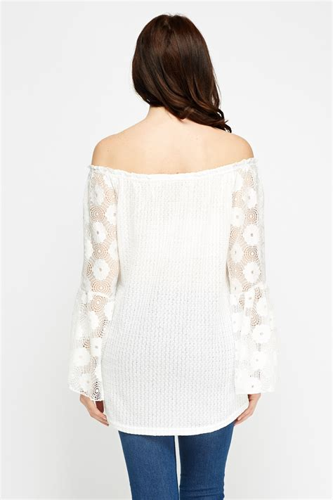 Shoulder Sleeve Lace Top lace sleeve white shoulder top just 163 5