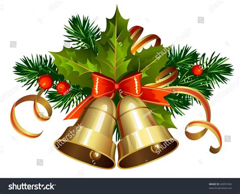 christmas decoration evergreen trees bells stock vector