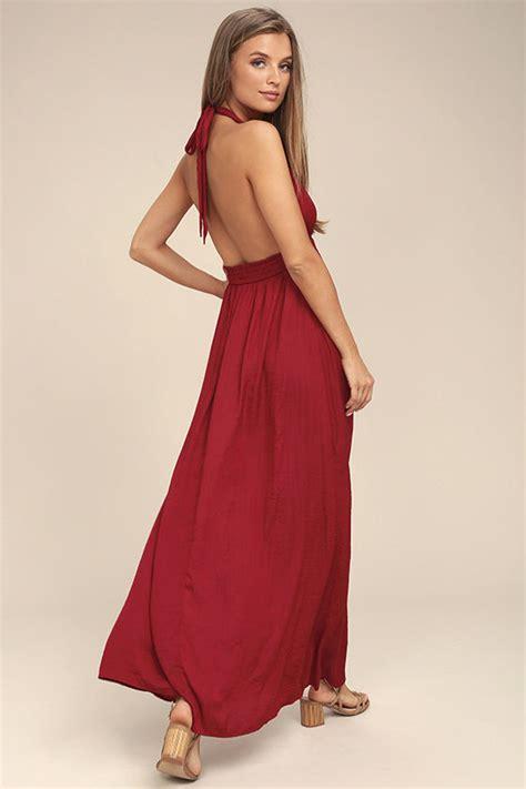 Maxi Dress Hamidah Dress Maroon Nv31 1 lovely burgundy dress maxi dress satin dress halter dress 59 00