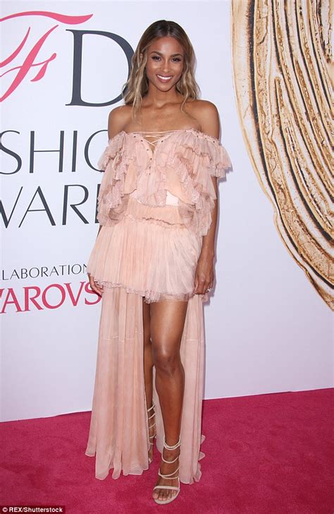 Ciara Maxi Dress ciara flashes leg in mini dress at cfda fashion awards in