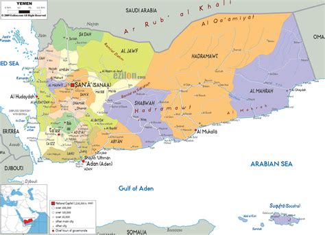 political map  yemen ezilon maps