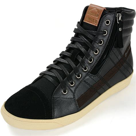 high top mens sneakers alpine swiss reto mens high top sneakers lace up zip