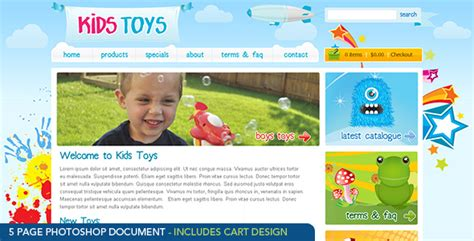 themes for children s clothing kids toys psd template by dtbaker themeforest