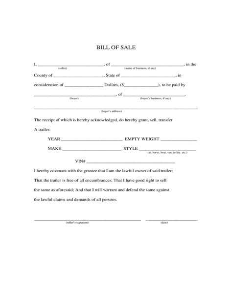 sle trailer bill of sale trailer bill of sale form maine free