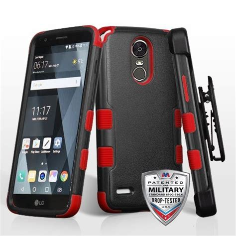 grade certified tuff hybrid armor with holster for lg stylo 3 stylo 3 plus