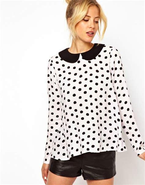 Blouse Polka fashion 2014 autumn blouses pan collar sleeve