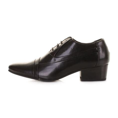 mens smart black cuban heel lace up formal dress evening