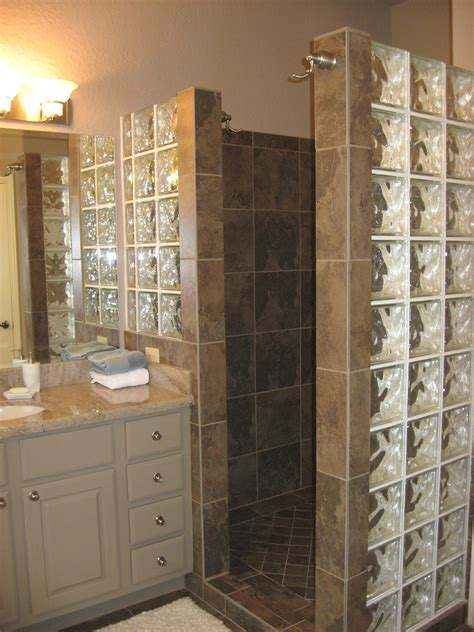 custom walk in showers custom walk in shower with no door and glass block for extra light bathroom ideas pinterest