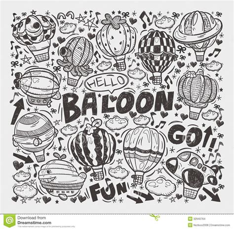 balloon doodle vector free doodle air balloon elements stock illustration image