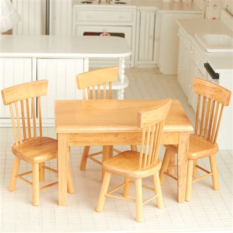 Light Oak Kitchen Table And Chairs Dollhouse Miniature Light Oak Kitchen Table And Chair Set New Items