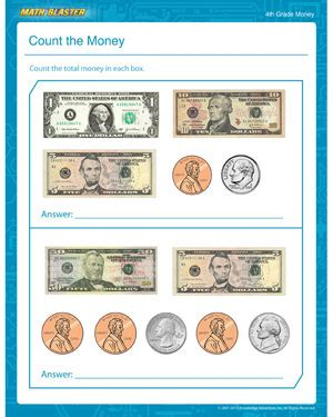 4th Grade Math Worksheets Money by Count The Money Free Money Worksheet For 4th Grade