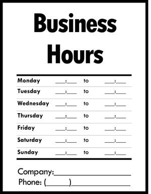business hours of operation sign small business free forms